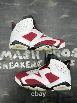 Nike Air Jordan Retro VI 6 Carmine 2014 Taille 12 384664-160 Red White Black Bulls