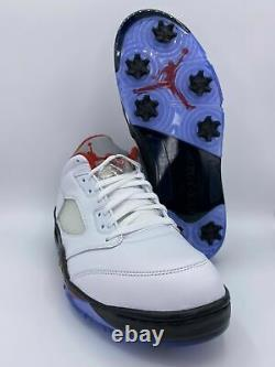 Nike Air Jordan V 5 Low Retro Golf Shoes Homme Feu Rouge Blanc Cleat Taille 10