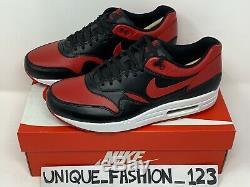 Nike Air Max 1 Qs Premium Bred 8,5 Royaume-uni 7,5 42 Noir Rouge Og Bleu 665873-061 Prm