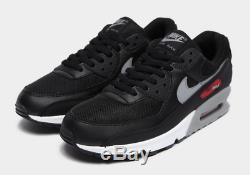 Nike Air Max 90 Chaussures Black-red Men Stock Limité Toutes Les Tailles