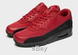 Nike Air Max 90 Essential Noir Rouge Chaussures De Baskets Pour Hommes Uk 10.5 Eu 45.5 Us 11.5