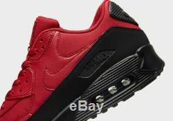 Nike Air Max 90 Essential Noir Rouge Chaussures De Baskets Pour Hommes Uk 10 Eu 45 Us 11