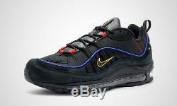 Nike Air Max 98 Noir Rouge Or Chaussures De Formateurs Hommes 6 7 8 9 10 11 12 Cd1537-001