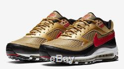 Nike Air Max Bw 97 / Pc Or Noir Rouge Royaume-uni Taille 9 Nous 10 Eu 44 Bnib Réfléchissant 3m