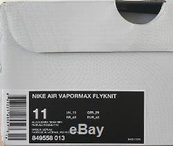 Nike Air Vapormax Flyknit Bred Noir Rouge Uk 10 849558 013 Off White Jordan 1