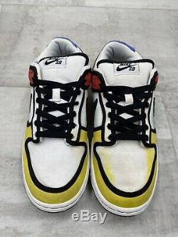 Nike Dunk Low Pro Sb Piet Mondrian Taille 9 Blanc Noir Rouge Jaune Bleu 304292-702