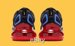 Nike Hommes Air Max 720 Noir Rouge Bleu Taille 8.5 Uk 43 Eu (ao2924-014)