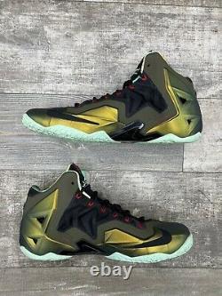 Nike Lebron 11 Rois Pride Jade Vert Or Noir Rouge 616175-700 Taille 11