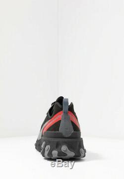 Nike React Element 55 Hommes Noir Rouge Gris Chaussures Entraîneur Sneaker