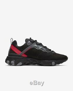 Nike React Element 55 (hommes Taille Uk 11 Eur 46) Off Noir Noir / Rouge / Gris