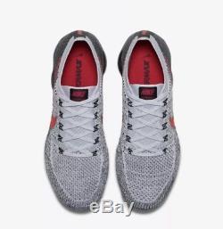 Nike Vapormax Flyknit Uk 9.5 Université Rouge Platine Noir Dead Stock Bnib