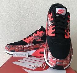 Nike X Atmos Air Max 90 Imprimer We Love Nike Royaume-uni 9.5 Noir Rouge Aq0926 001 Ds Rares