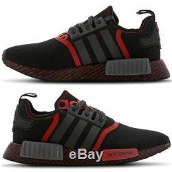 Nmd R1 Adidas Hommes Noir Rouge Gris Formateurs Limited Edition Sneakers Toutes Les Tailles