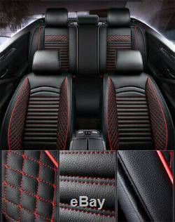 Noir Et Rouge En Cuir Pu Voiture Standard 5 Housses De Protection Coussin Respirante
