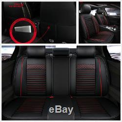 Noir + Rouge En Cuir Pu Voiture Standard Seat 5 Seat Cover Protector Coussins Durable