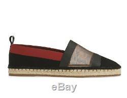 Nouveau $ 650 Sz 40. Brown Mesh Fendi Ff Colibri Logo Toile Espadrilles Noir Rouge