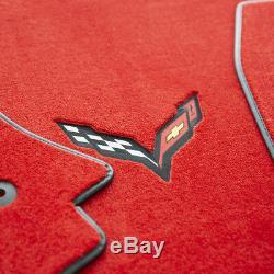 Nouveau Chevrolet Corvette C7 Tapis De Sol Drapeaux Adrenaline Red Carbon Black En Stock