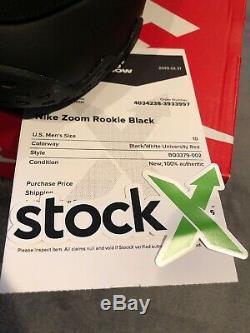 Nouveau Ds Nike Air Zoom Rookie 2018 Noir / Blanc-université Rouge Sz 10 Stock X