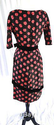 Nouveau Old Stock Mort Schrader Designer Robe Rose Asymétrique En Soie Rose Rose 10p