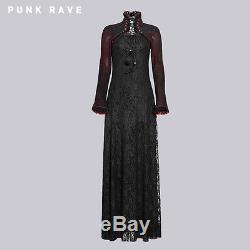 Nouveau Punk Rave Gothique Victorien Noir & Rouge Robe Q-243 Tous Stock En Australie