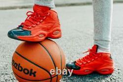 Nouveau Reebok Question MID Basketball Chaussures Allen Iverson Coeur Sur Hype Rouge-noir