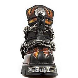 Nouveau Rock Heavy Metal Bottes Gothiques M. 1495-s1 Noir Rouge Flamme Hommes Unisexe Au Stock