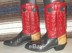 Olathe Kansas Fait Rugueux Bottes De Cowboy Stock Occidental Noir Rouge L Orteil 9d Belle