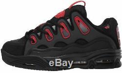 Osiris D3 2001 Noir Rouge Fade Hommes Skate Baskets Chaussures