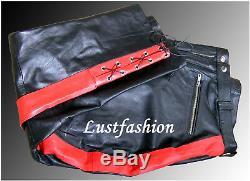 Pantalon De Moto Pantalon En Cuir Noir Rouge Uniforme En Cuir Gay Breeches