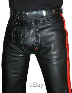 Pantalon En Cuir Noir Pantalon En Cuir Rouge Nouveautésnouveaux Arrière Zip Gay Leder