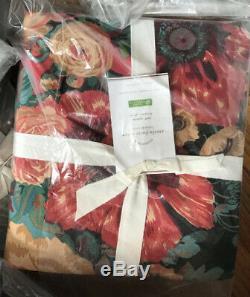 Pottery Barn Amela Housse De Couette Reine 2 Standard Shams Floral Noir Rouge Amelia