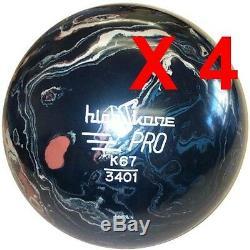 Quatre (4) 16 Lb Marble Noir / Rouge / Blanc Boules De Bowling Neuf En Caoutchouc