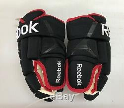 Reebok 852 4 Rouleau Gants De Hockey Pro Stock 13 Noir Rouge Blackhawks 9222