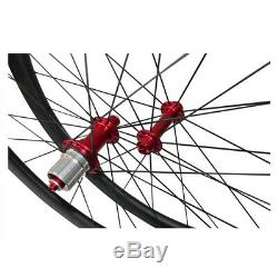 Route 700c Clincher Standard Wheelset 3k Matte Red Hubs Carbon Roues