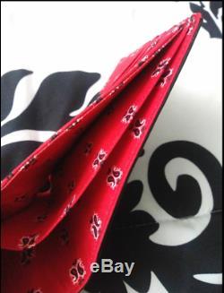 Saint Laurent Noir Rouge Bandana Portefeuille Doublé