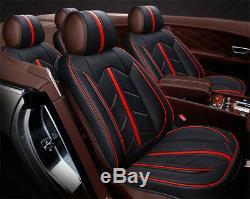 Standard Edition Sièges D'auto Couverture Set Avant + Arrière En Cuir Noir Et Microfibre Rouge