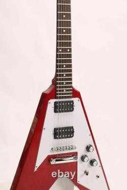 Starshine Flying V Standard Electric Guitar Red Color Mahogany Livraison Gratuite
