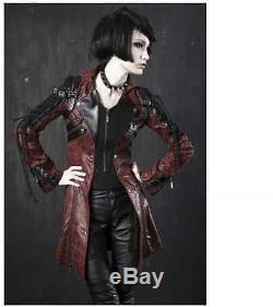 Stock Allemand Nouveau Manteau De Veste En Métal Lourd Punk Rave Gothique Vampire Y349 Rouge Noir
