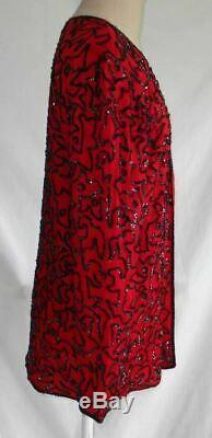 Stock Sequin Veste Morte 70s Vintage Longue Ligne Noire En Soie Rouge Royal Feeling L