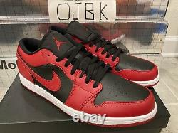 Taille 15 Air Jordan 1 Low'reverse Bred' Rouge Noir