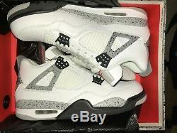 Tout Neuf 2016 Nike Air Jordan 4 Blanc Gris Ciment Noir Rouge Og Retro Sz 11.5