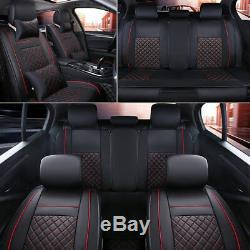 Us Stock 5 Sièges Seat Cover Car Pu Cuir Pleine Coussins Withpillow Set Noir Et Rouge