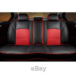 Us Stock Car Seat Couvre Coussin En Cuir Pu Noir + Rouge Pour Ford F-150 Avec Oreillers