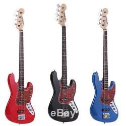 Vintage Marque Nouvelle 4 Cordes Guitare Basse Électrique Noir Bleu Rouge 21 Frets Us Stock